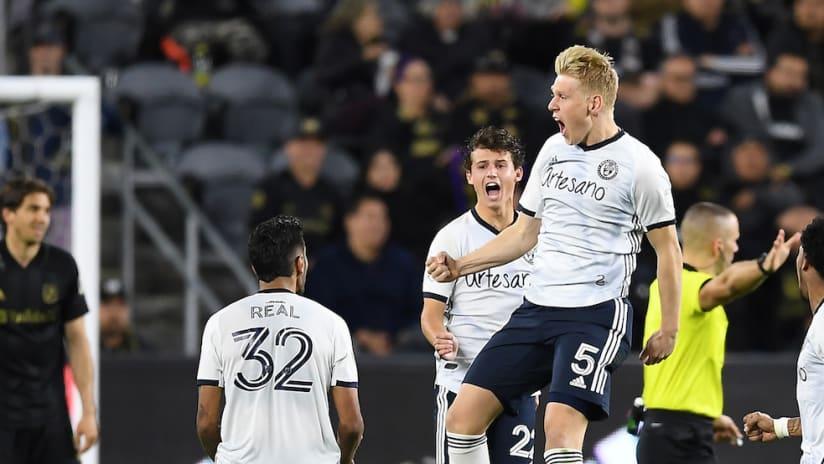 Jakob Glesnes celebrates golazo at LAFC