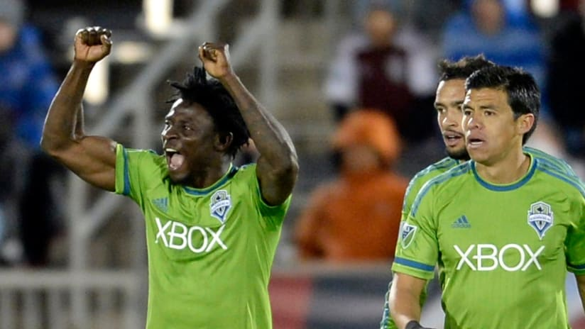 Obafemi Martins - Seattle Sounders - celebrating