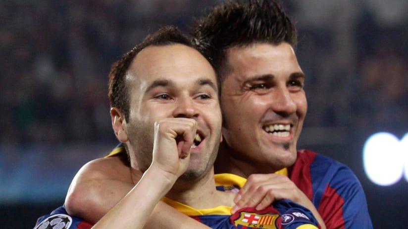 Andres Iniesta, David Villa - FC Barcelona - celebrating