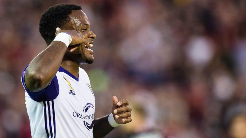 Cyle Larin - Orlando City SC - celebrates goal vs. DC United
