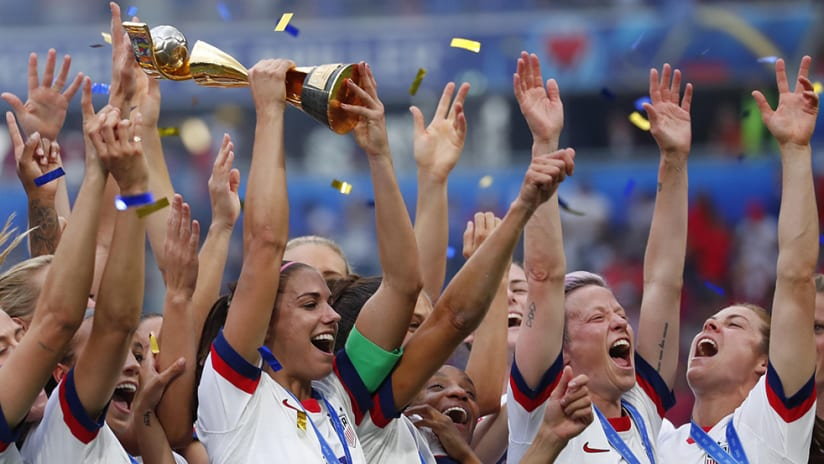 USWNT - World Cup trophy - celebration
