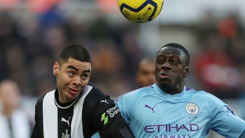 Miguel Almiron - contesting header - Manchester City