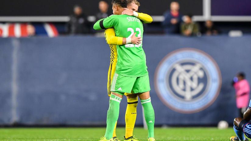 Columbus Crew SC - Josh Williams and Zack Steffen - hug after NYCFC playoffs game