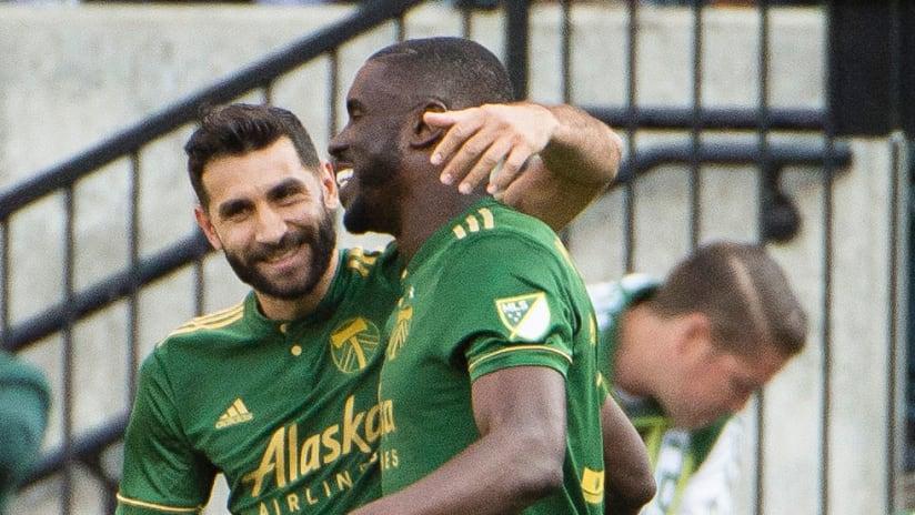 Portland Timbers Diego Valeri celebrates with Larrys Mabiala
