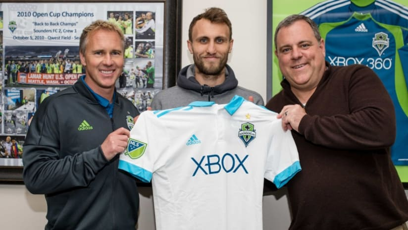 Magnus Wolff Eikrem - after signing with Seattle Sounders - Garth Lagerwey - Chris Henderson