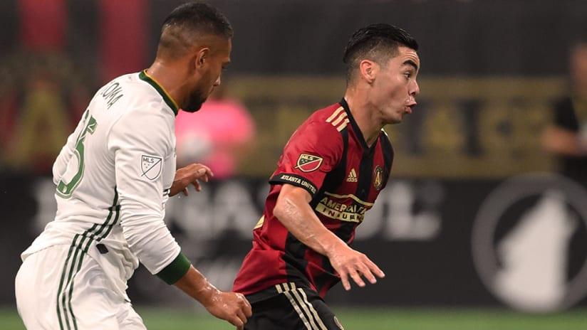 Miguel Almiron, Bill Tuiloma - Atlanta United, Portland Timbers - Close up