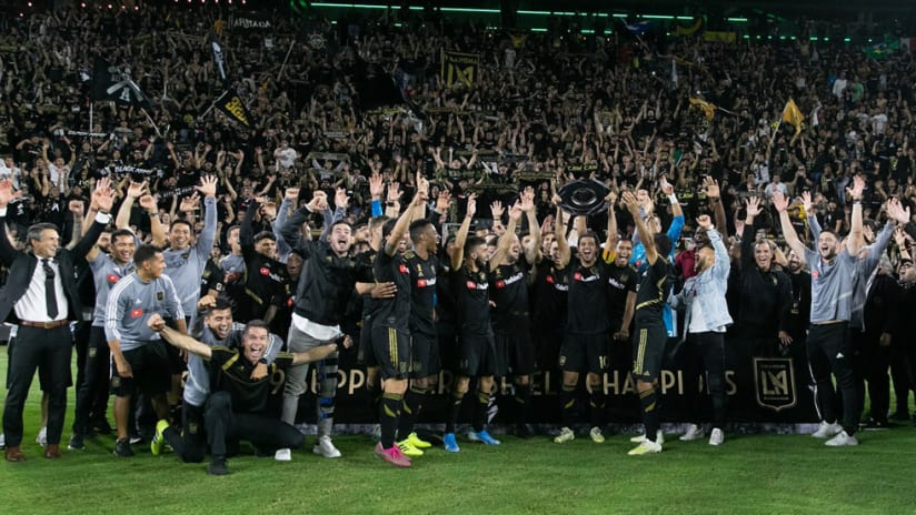 LAFC - celebrate Supporters' Shield win in front of fans