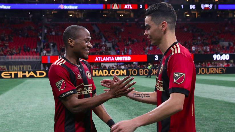 Darlington Nagbe Miguel Almiron high five Atlanta United