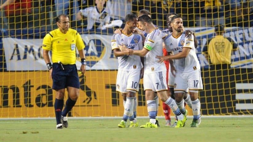 Robbie Keane (LA Galaxy) celebrates his goal scored against FC Dallas