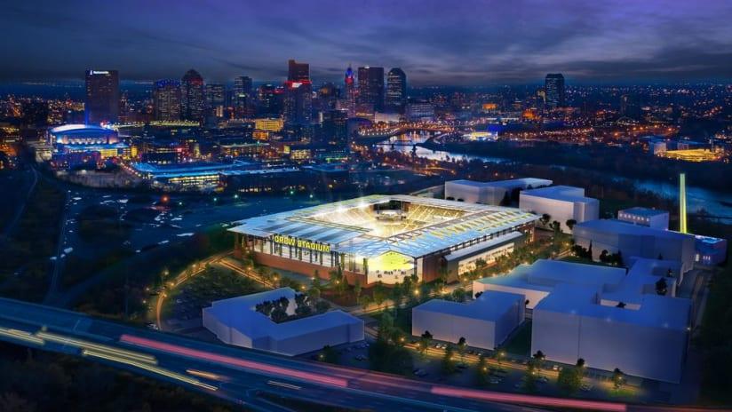 Columbus Crew Stadium - Rendering Aerial Nighttime - December 2018