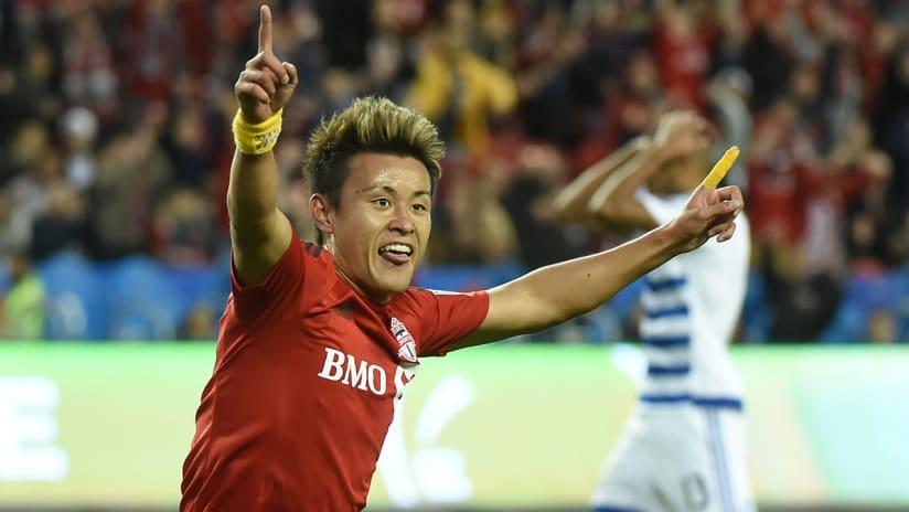 Tsubasa Endoh - Toronto FC - celebrates a goal vs. FC Dallas
