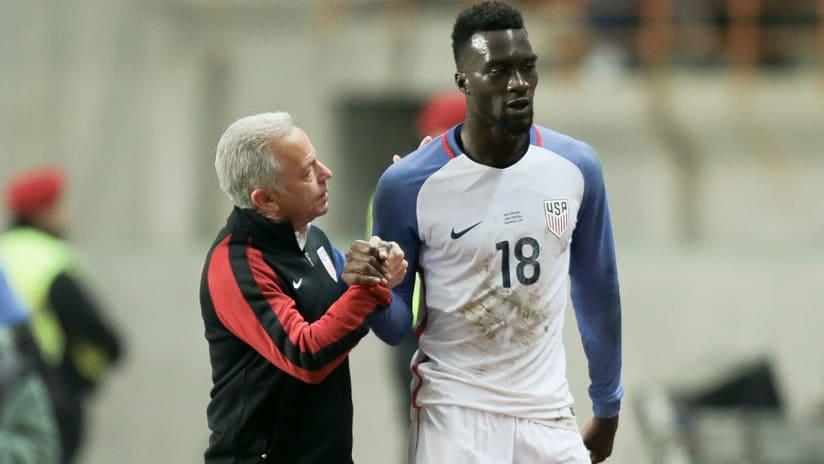 CJ Sapong - US national team - with coach Dave Sarachan