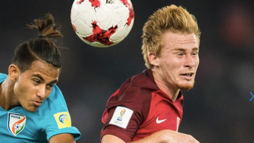 Andrew Carleton battles against India in FIFA Under-17 World Cup
