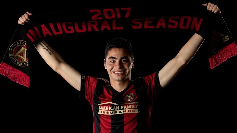 Miguel Almiron - Atlanta United - with scarf upon signing - Dec. 5, 2016