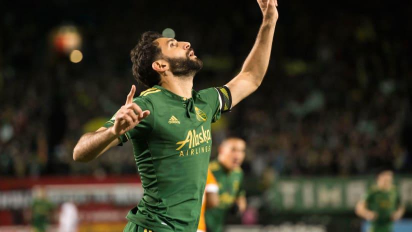 Diego Valeri of the Portland Timbers celebrates a goal