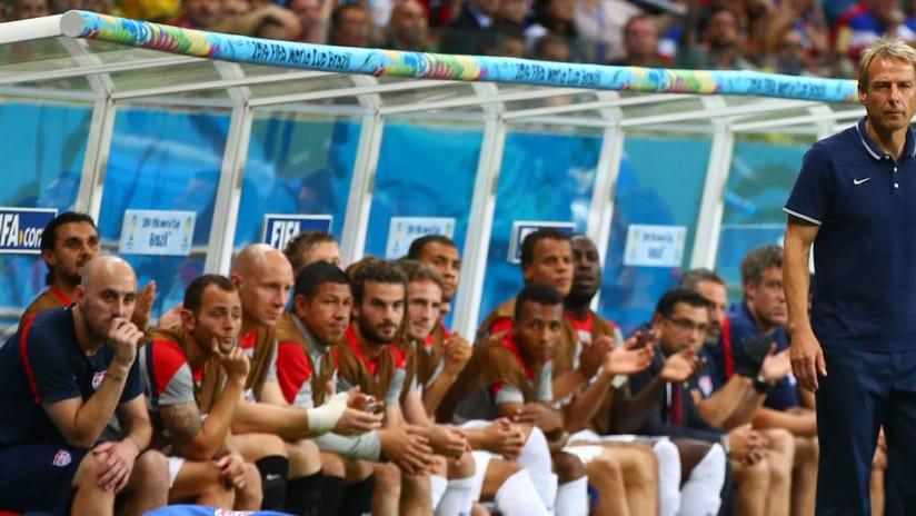 Jurgen Klinsmann - US National Team - Wide shot with bench