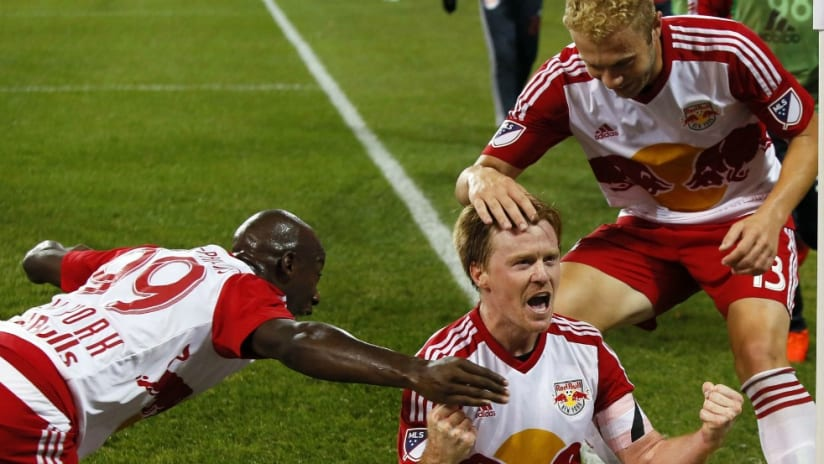 Dax McCarty - New York Red Bulls - celebrates a goal with teammates