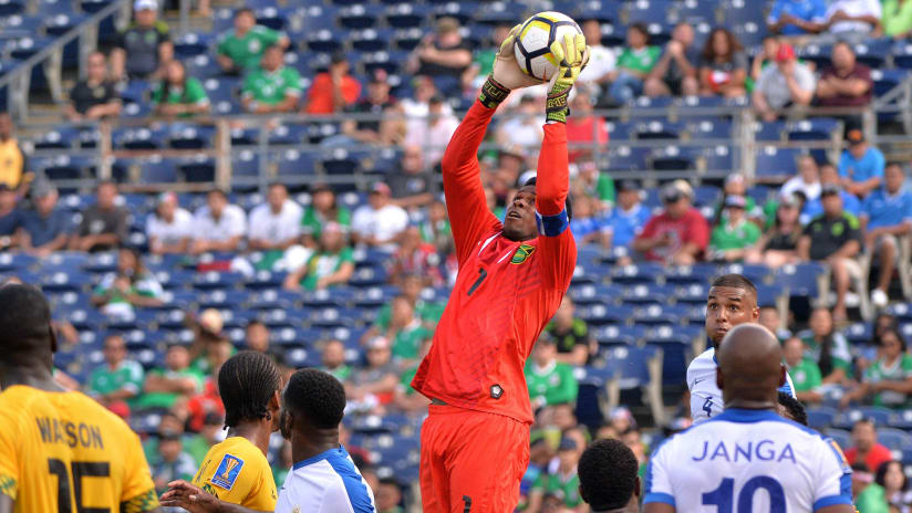 Andre Blake of Jamaica plucks ball out of air in Gold Cup vs. Curacao 7-9-17