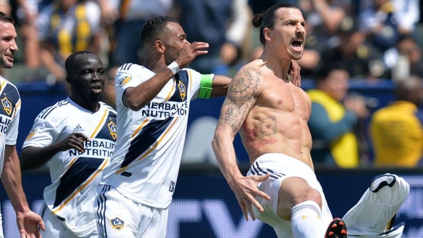 Zlatan Ibrahimovic - LA Galaxy - celebrates his golazo vs. LAFC