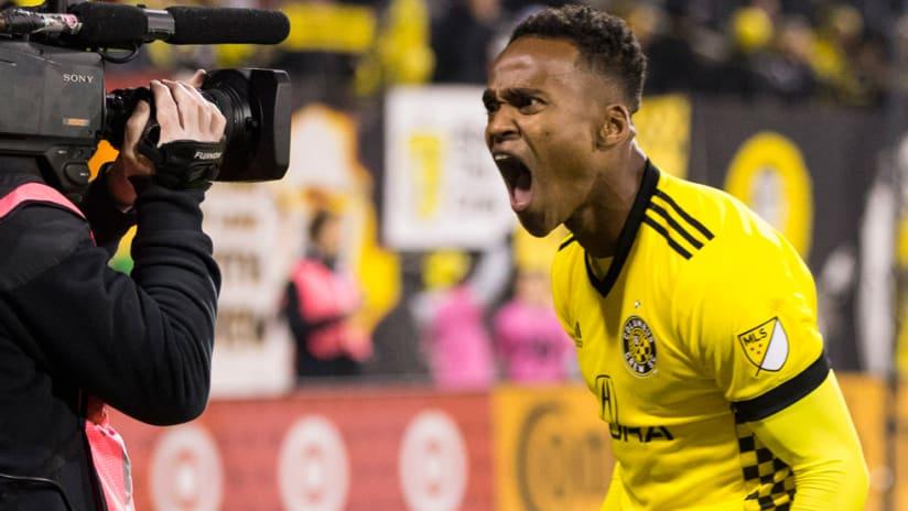 Ola Kamara - Columbus Crew SC - celebrates a goal in front of the camera