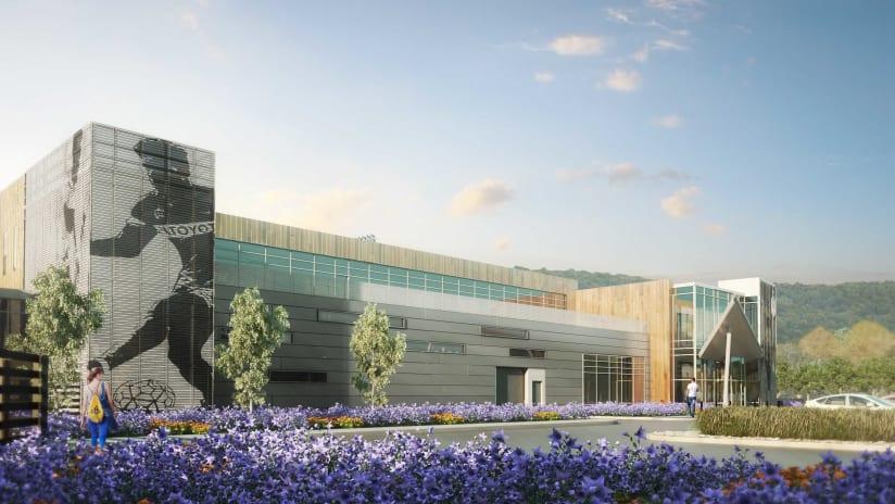 FC Cincinnati - training facility rendering - front of building - flowers