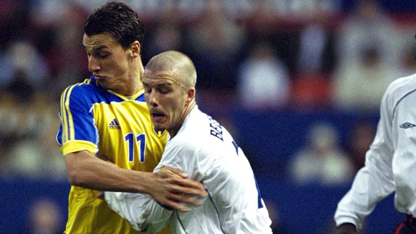 Zlatan Ibrahimovic, David Beckham - National teams - 2001