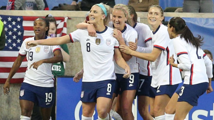 Julie Ertz - US women's national team - celebrate a late goal vs. Spain in SheBelieves Cup