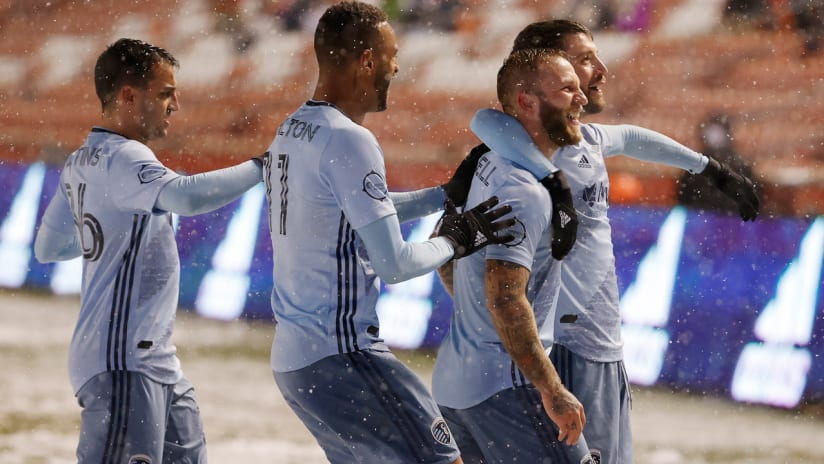 Sporting KC - celebrate a goal - vs. Real Salt Lake - Nov. 8, 2020 - snow