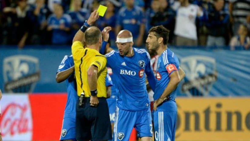 Montreal Impact's Laurent Ciman is issued a second yellow card vs. the New York Red Bulls