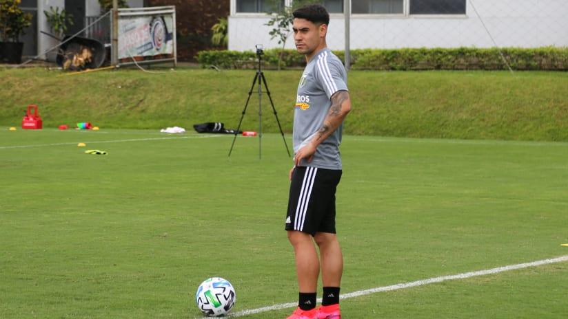 Felipe Mora - Portland Timbers - standing during preseason training