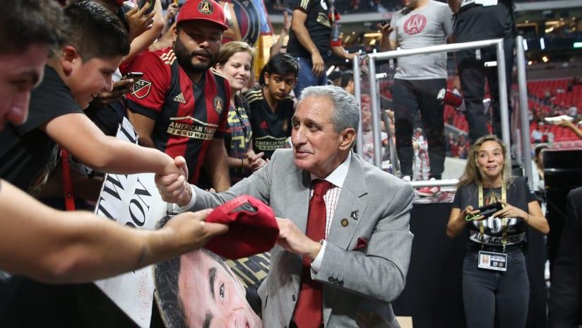Atlanta United owner Arthur Blank greets fans —9/27/17