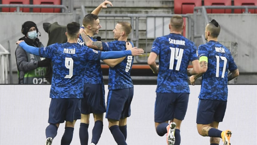 Jan Gregus - Slovakia - celebrates a goal with teammates - Minnesota United