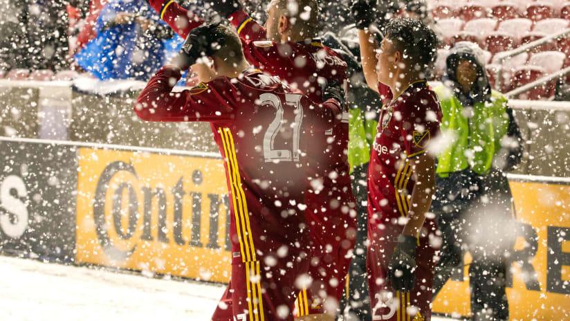 Real Salt Lake - celebrating a goal vs. Vancouver Whitecaps