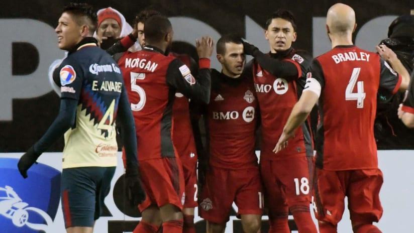 Toronto FC - celebrate a goal by Sebastian Giovinco against Club America - CCL