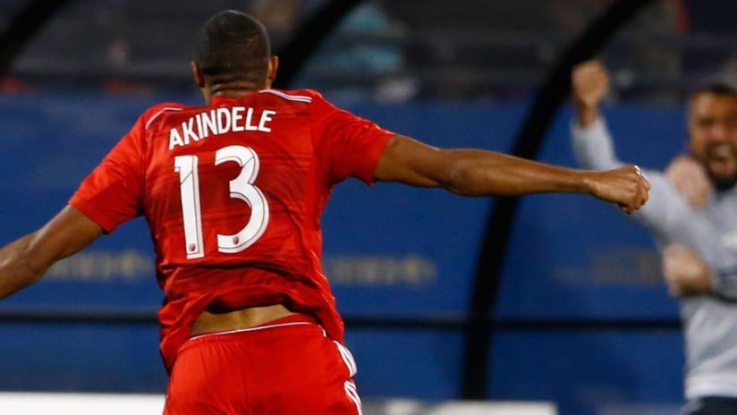 Tesho Akindele - FC Dallas - Back of celebration
