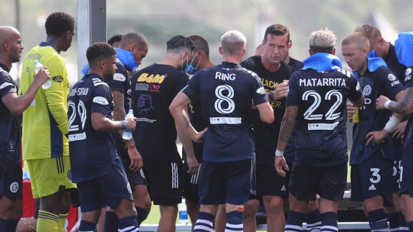 NYCFC huddle vs. PHI at MLS is Back Tournament
