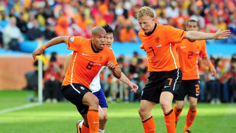 Nigel de Jong in World Cup action for the Netherlands