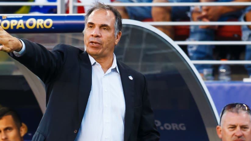 Bruce Arena - gives instructions during the Gold Cup final - US national team