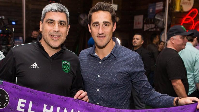 Claudio Reyna and Josh Wolff at Austin FC anniversary event