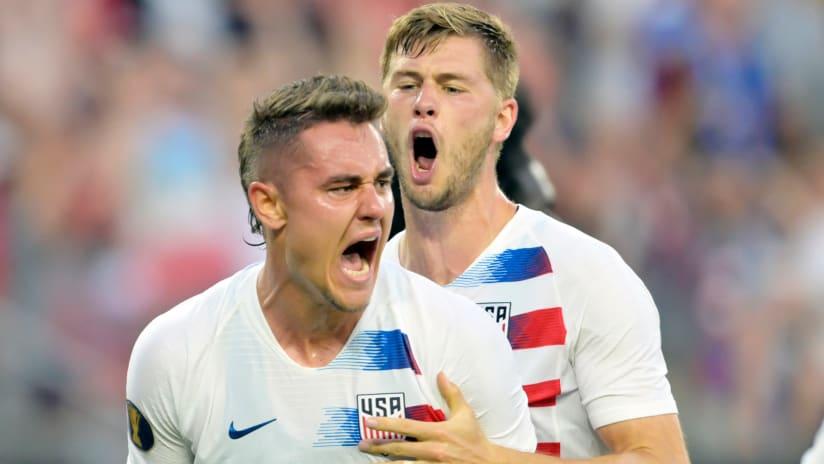 US men's national team - Aaron Long celebrate with Walker Zimmerman