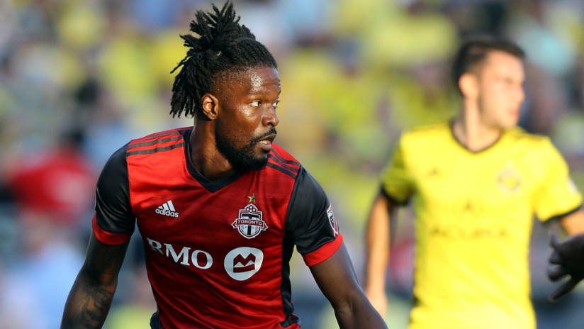 Tosaint Ricketts - in action for Toronto FC in June 2018 - close-up