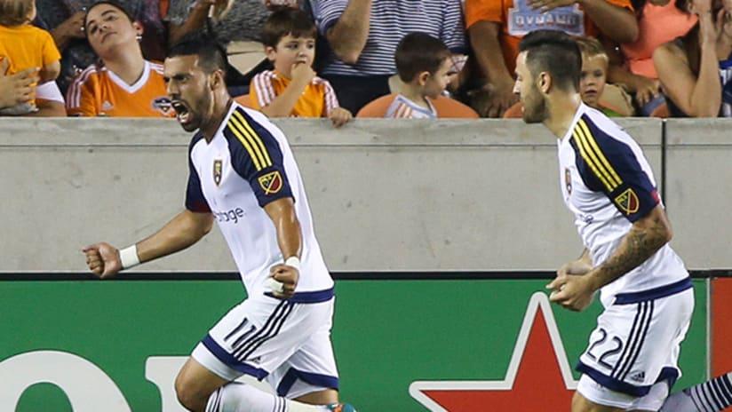 Javier Morales celebrates for Real Salt Lake vs. Houston