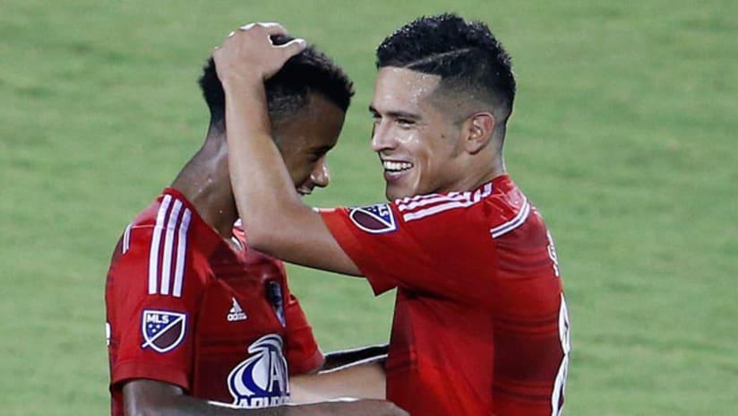 FC Dallas midfielder Kellyn Acosta celebrates a victory with midfielder Victor Ulloa