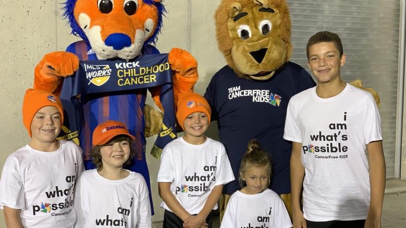 FC Cincinnati - Kick Childhood Cancer event - Gary the Lion