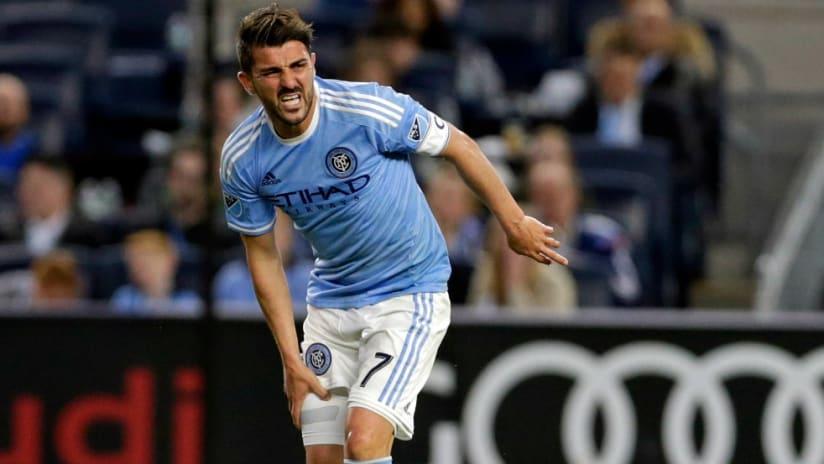 David Villa - New York City FC - cringing - isolated