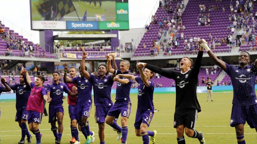 Orlando City celebrating fourth win at home, April 15, 2017