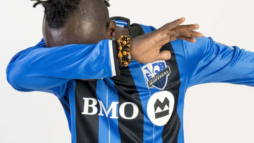 Dominic Oduro dabbing in new Montreal Impact 2016 jersey