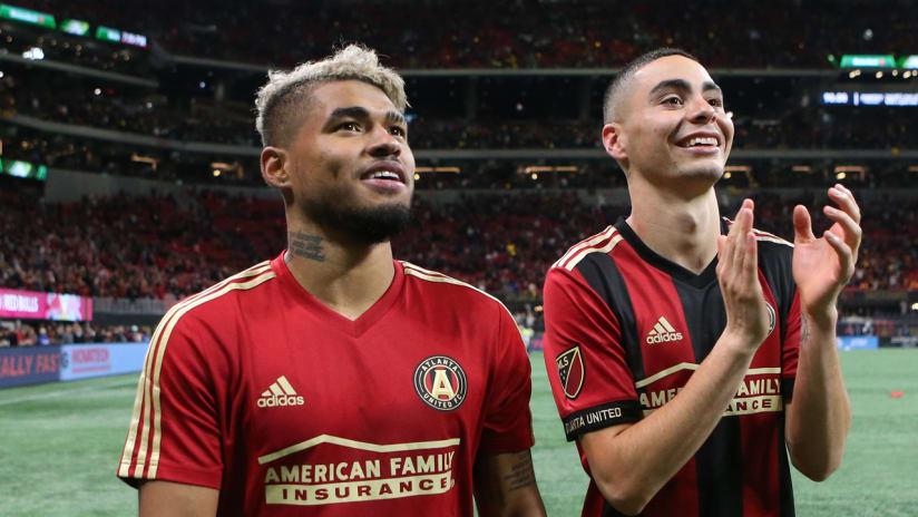 Josef Martinez - Miguel Almiron - Atlanta United - celebrating - tight shot
