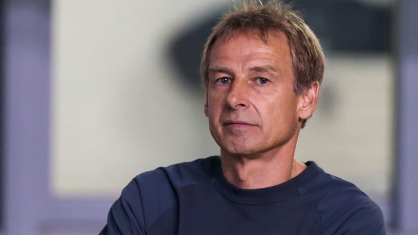 Jurgen Klinsmann - pensive during US national team's loss at Costa Rica - Nov. 15, 2016