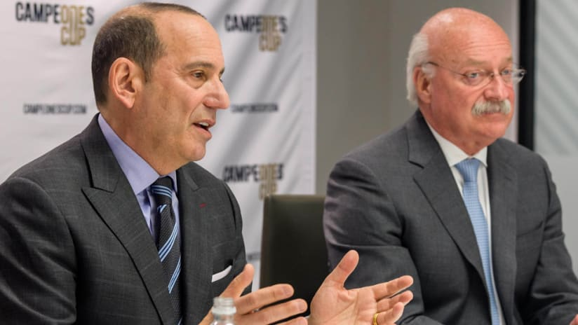 Don Garber - speaks at a joint press conference with Liga MX president Enrique Bonilla